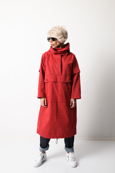 Clothes By Locker Room - Red Long Oversized Jacket with Big Front Pocket