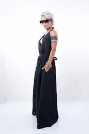 Black Linen Maxi Women Loose Dress - Clothes By Locker Room
