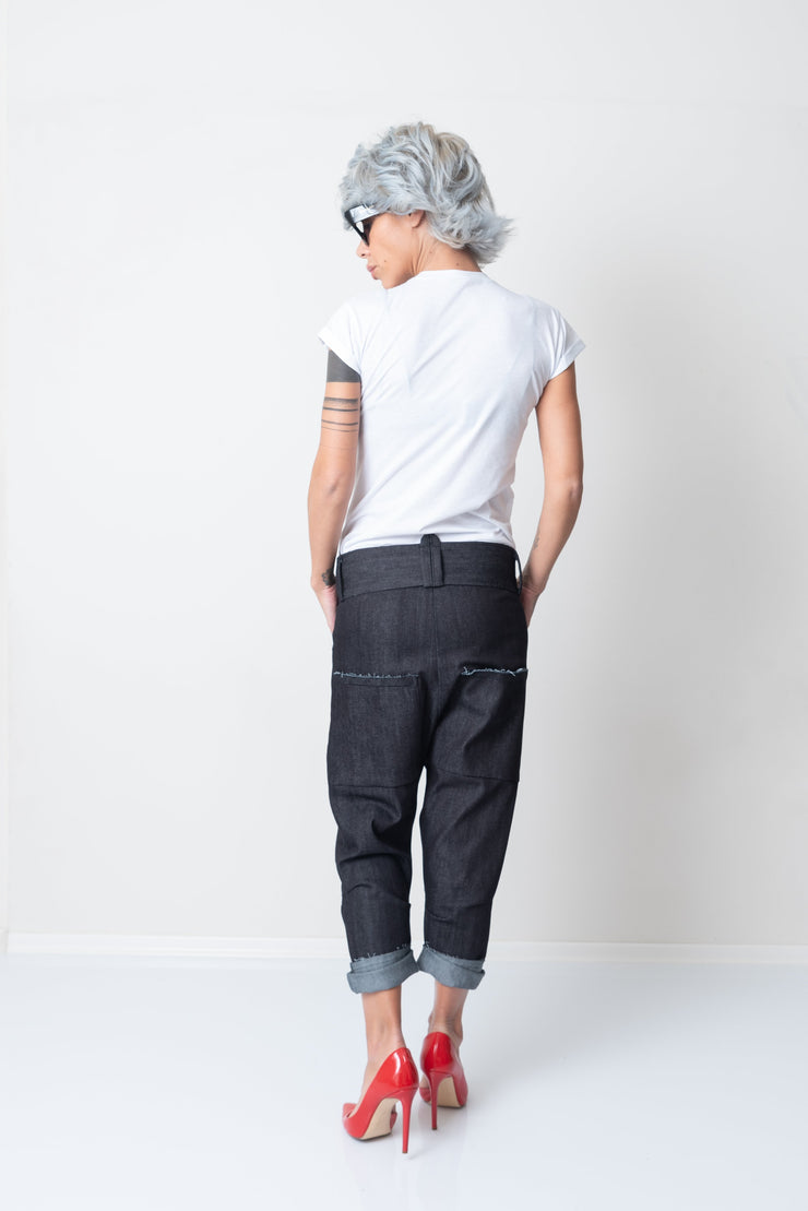 Women Harem Wide Leg Denim Drop Crotch Pants - Clothes By Locker Room