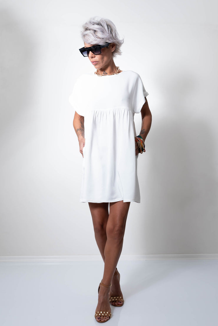 Summer White Short Loose Dress with Wide Sleeves - Clothes By Locker Room
