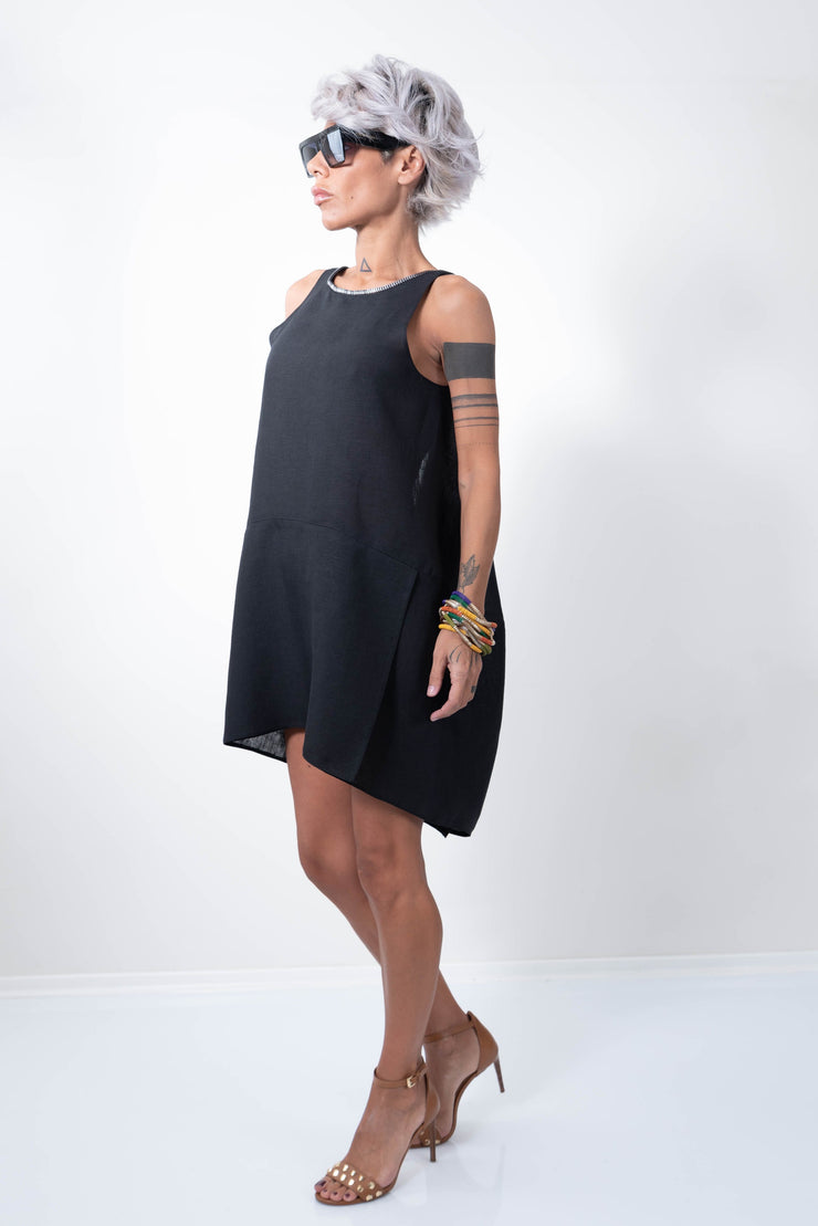 Linen Little Black Dress With a Zipper on the Back - Clothes By Locker Room