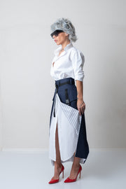 Women Blue Maxi High Waisted Semi Skirt With Cargo Pocket - Clothes By Locker Room