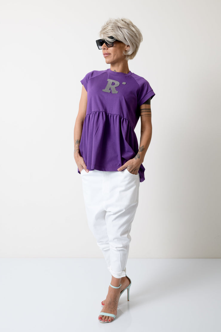 Purple T Shirt Blouse with Short Sleeves - Clothes By Locker Room