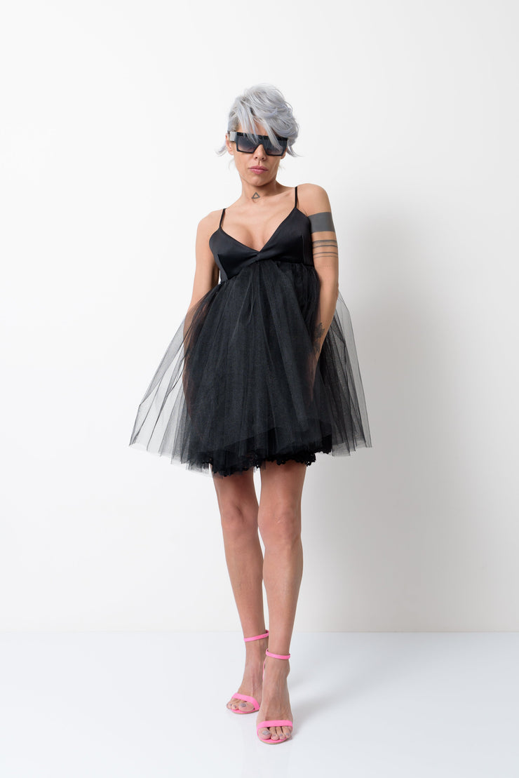 Little Black Dress with Black Tulle - Clothes By Locker Room