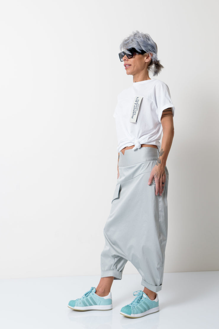Grey Loose Wide Leg Harem Pants - Clothes By Locker Room