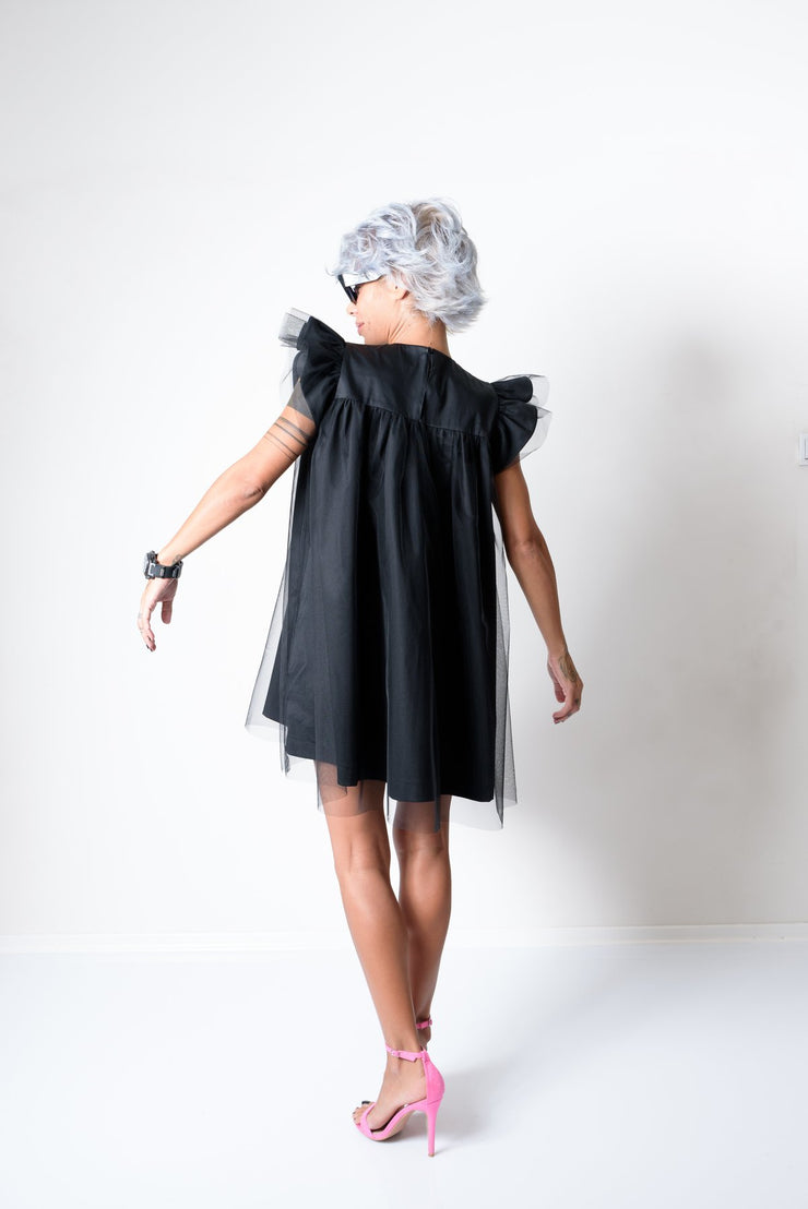 Black Mini Evening Dress with Puff Tulle Sleeves