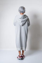 Grey Long Oversized Asymmetrical Casual Hoodie Sweatshirt - Clothes By Locker Room