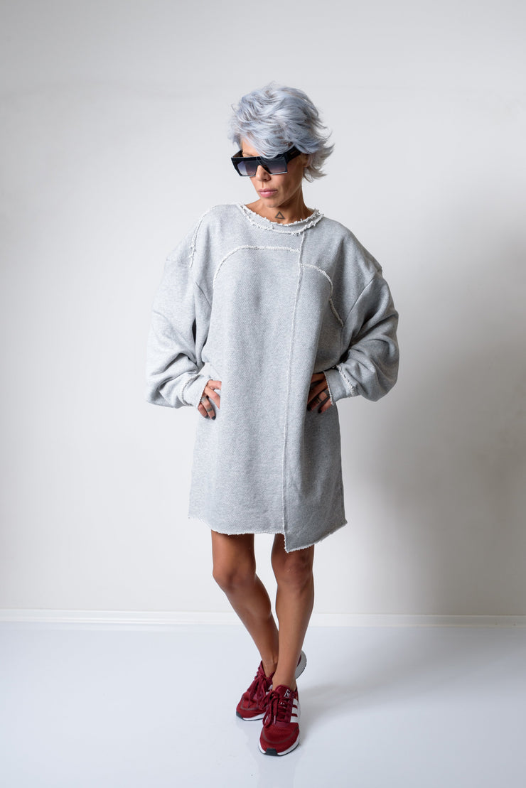 Grey Oversized Asymmetric Long Loose Sweater - Clothes By Locker Room