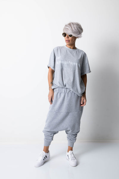 Clothes By Locker Room - Grey Harem Loose Drop Crotch Pants