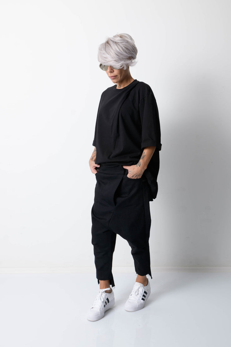 Clothes By Locker Room - Black Wide Leg Drop Crotch Pants with Side Pockets