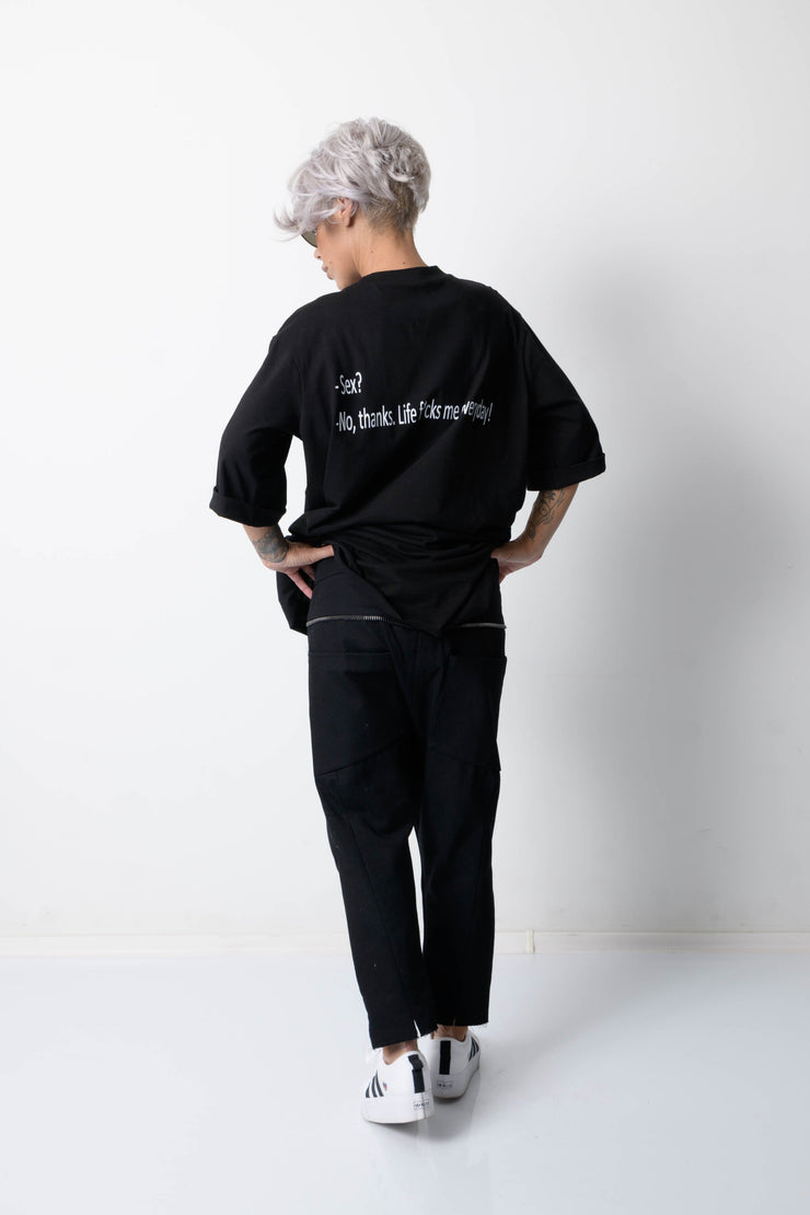 Clothes By Locker Room - Black T Shirt Blouse with Back Print