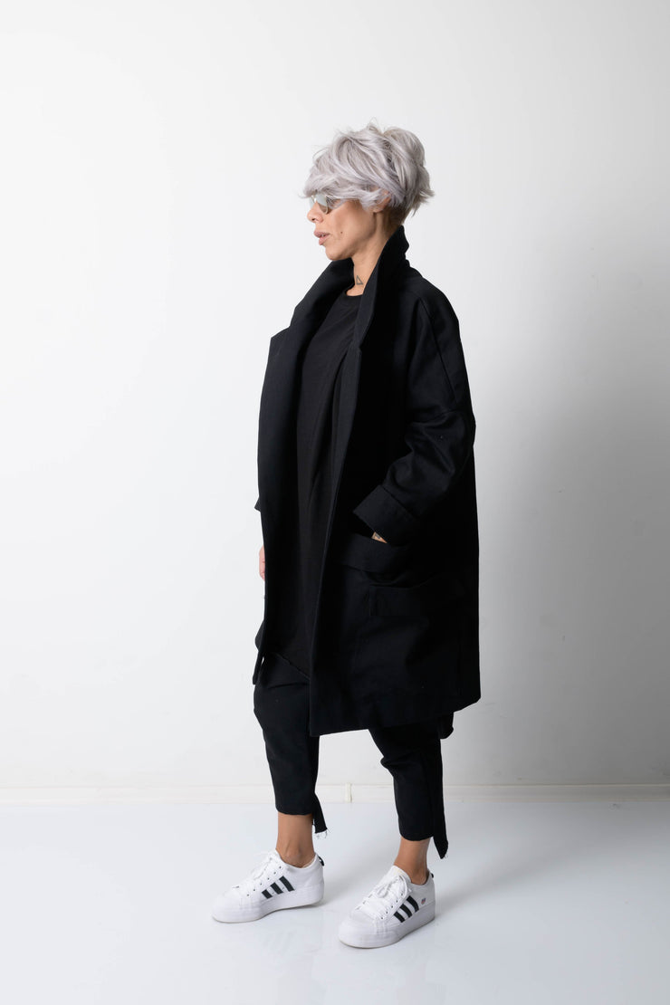 Clothes By Locker Room - Woman Denim Coat with Lapel Collar and Big Pockets
