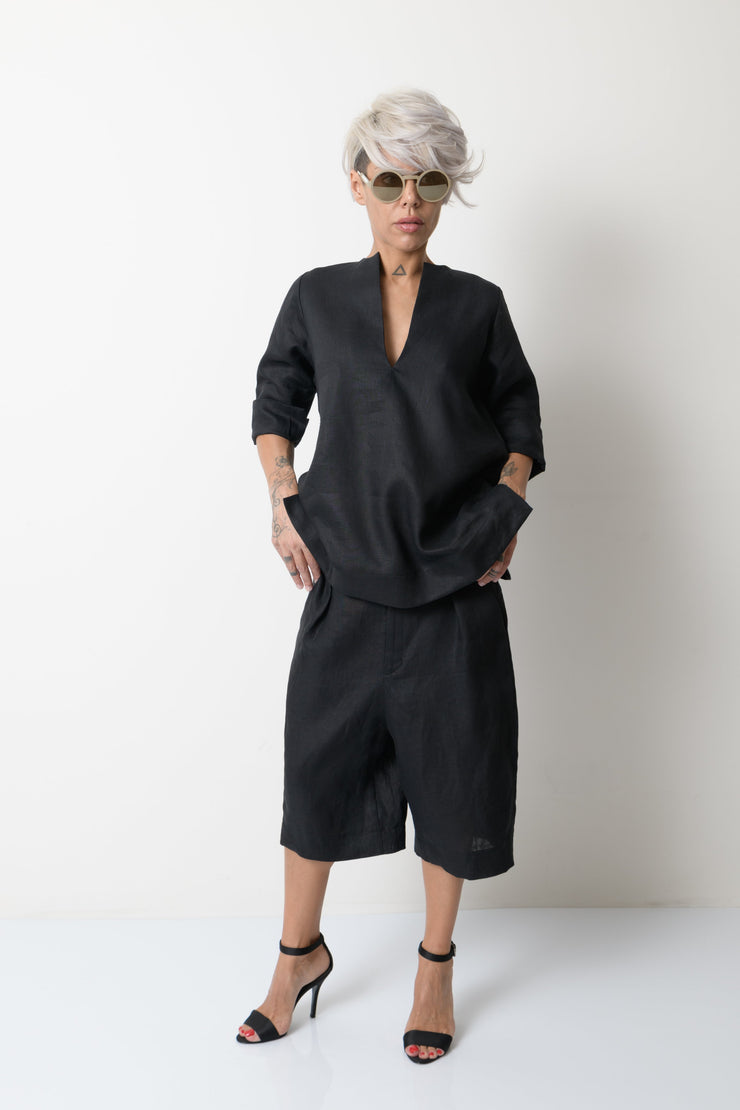 Black Linen Wide Leg Summer Pants - Clothes By Locker Room