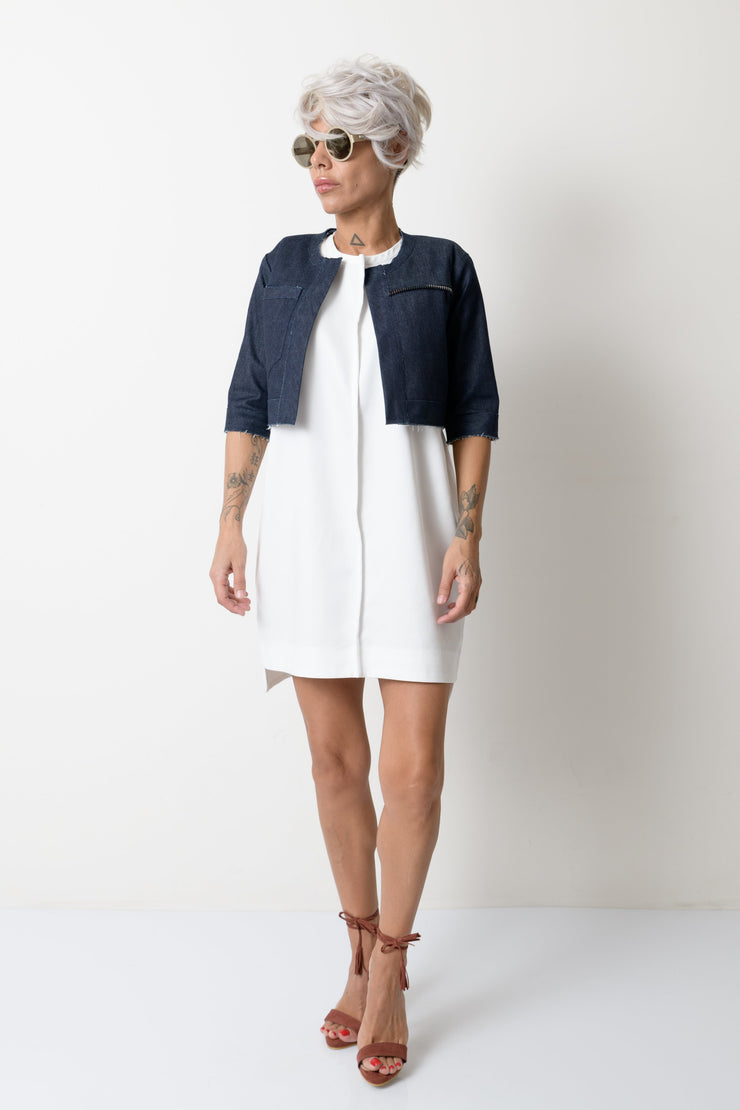 Women Denim Short Jacket with Front Pocket - Clothes By Locker Room