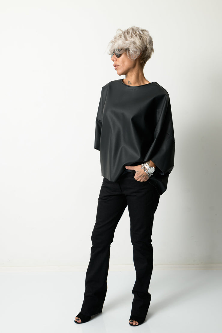 Clothes By Locker Room - Black Leatherette Loose Tunic Top