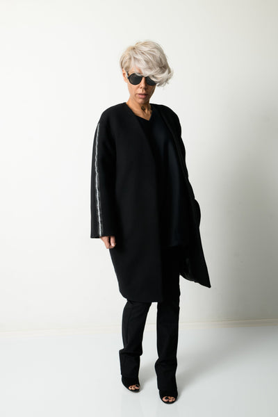 Clothes By Locker Room - Black Wool Winter Loose Coat