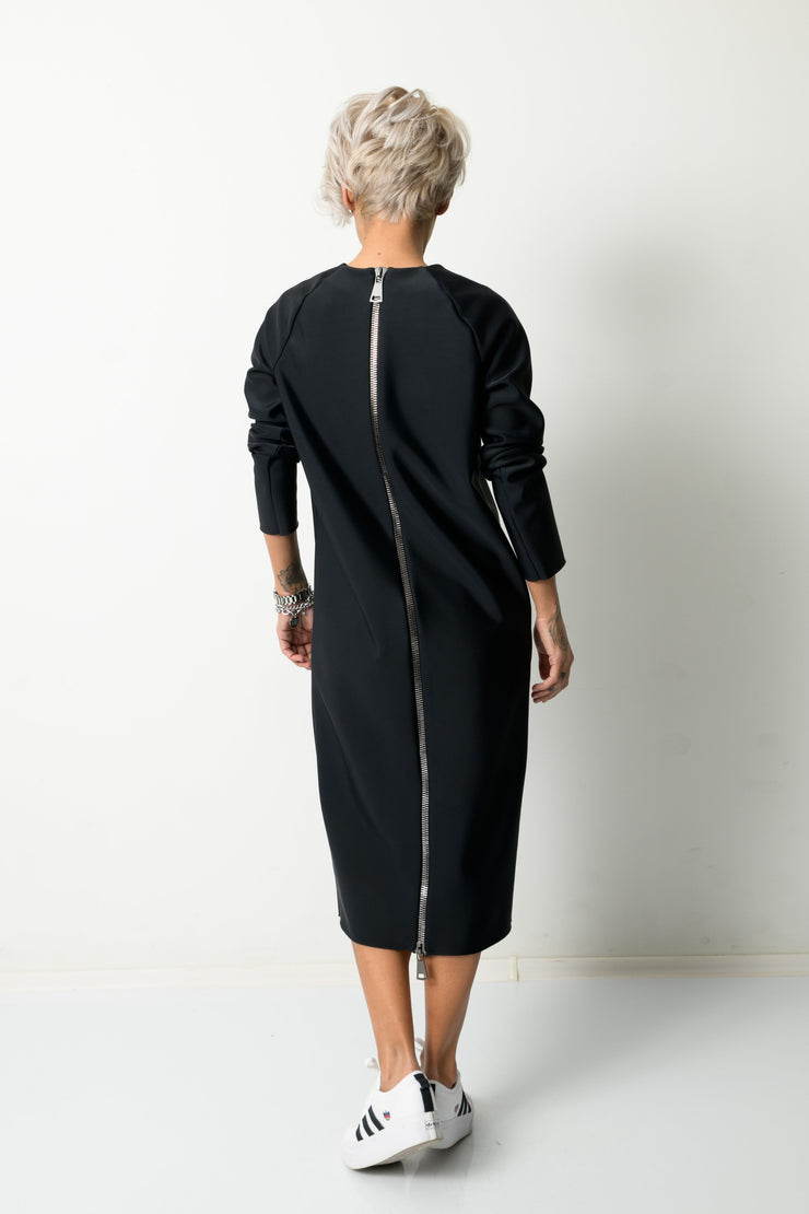 Clothes By Locker Room - Winter Black Long Sleeved Dress With Back Functional Zipper