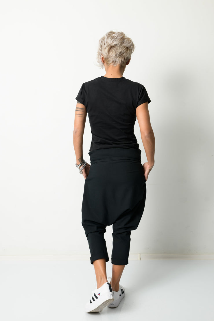 Clothes By Locker Room - Black Harem Loose Low Crotch Pants