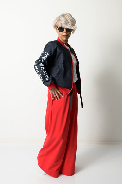 Clothes By Locker Room - Woman Denim Bomber Jacket with Red Cuffs
