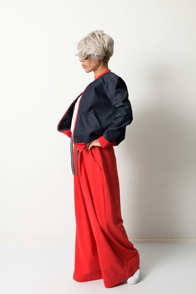 Clothes By Locker Room - Red Wide Leg High Waist Sweat Pants