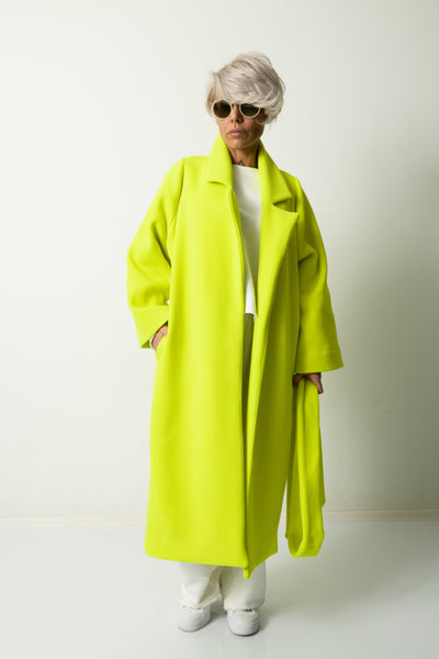 Clothes By Locker Room - Green Yellow Wool Winter Loose Coat