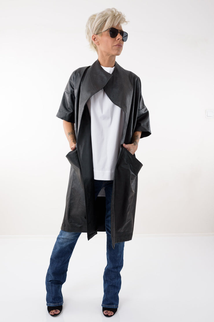 Black Leatherette Oversized Trench Coat - Clothes By Locker Room