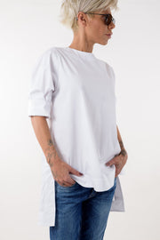 Snow White Cotton Shirt with side Slits - Clothes By Locker Room