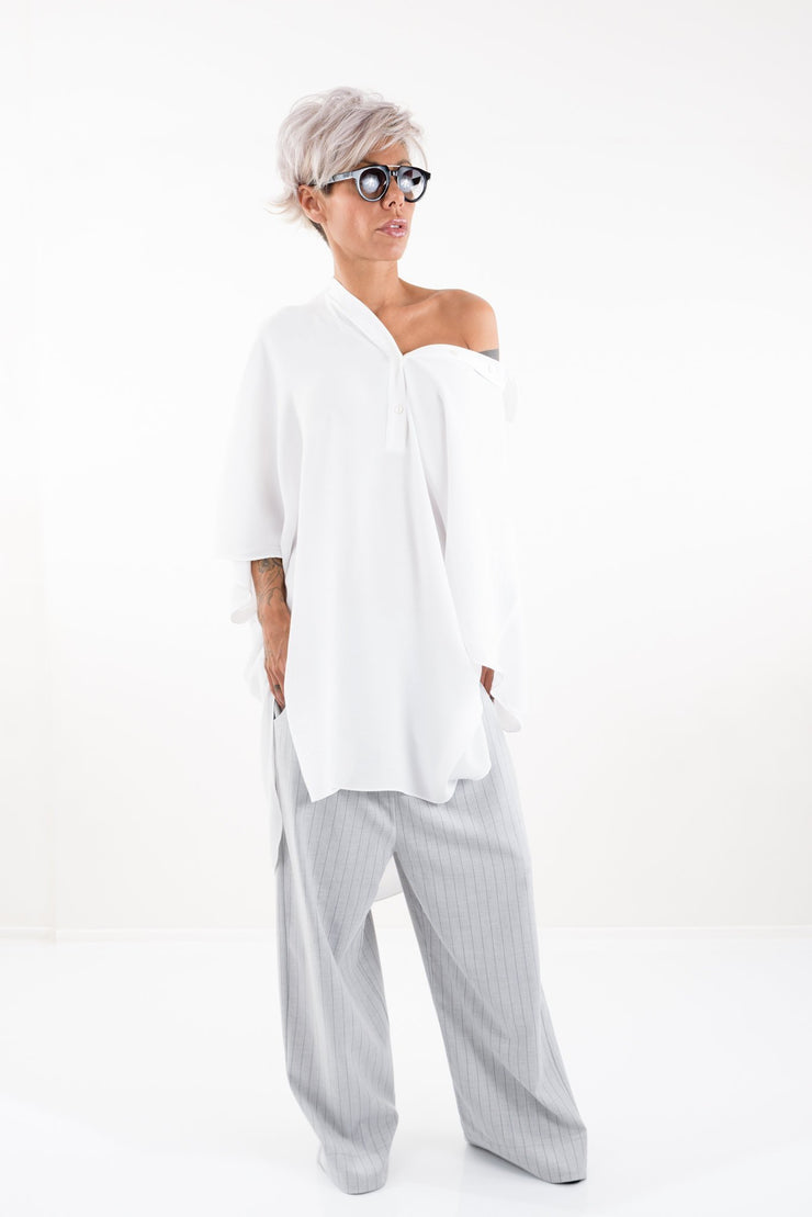 White Loose Oversize Shirt with Falling Shoulder - Clothes By Locker Room