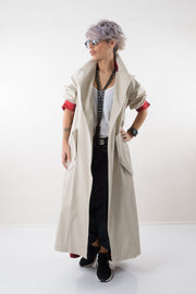 Oversized Long Beige Coat with Checked Back - Clothes By Locker Room