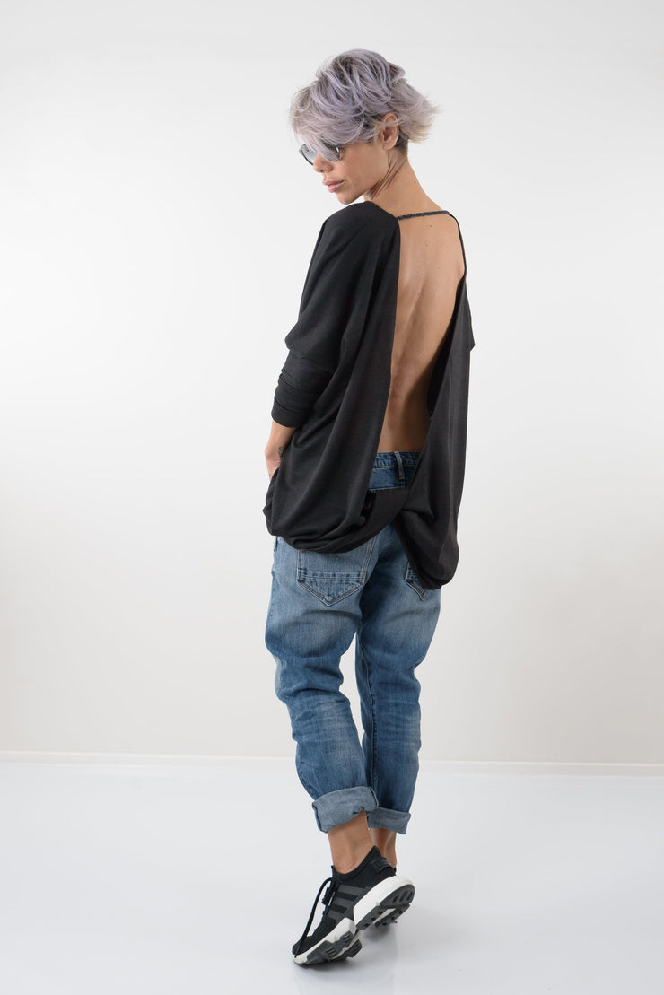 Black Oversize Asymmetric Knitted Open Back Blouse - Clothes By Locker Room