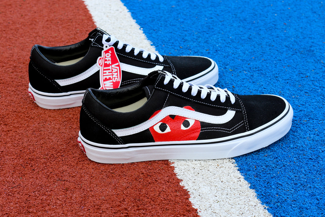 VANS Black Old Skool Red Heart