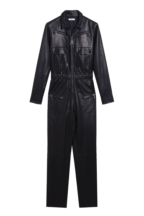 LEATHER JUMPSUIT NIKITA BLACK