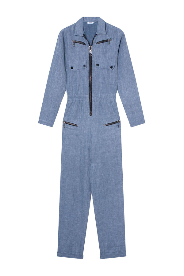 TEXTURED WOOL JUMPSUIT NIKITA LIGHT BLUE
