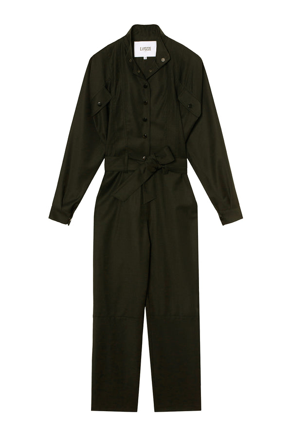 Virgin Wool Jumpsuit Stephanie Power Olive