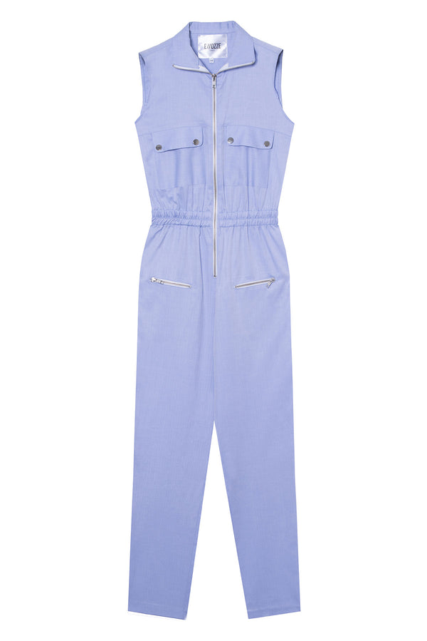 Cotton Poplin Jumpsuit Challenger Light Blue