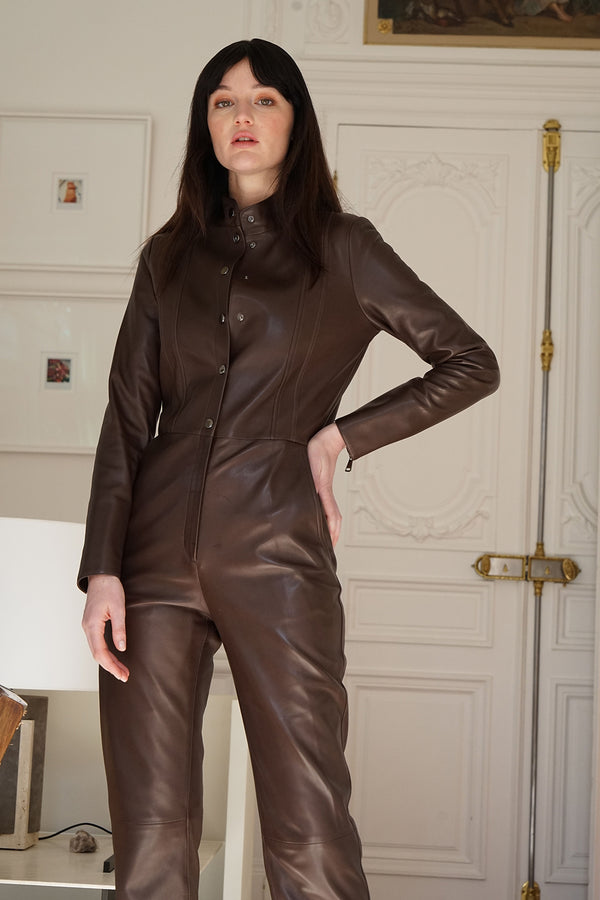 Leather Jumpsuit Pamina Chocolate