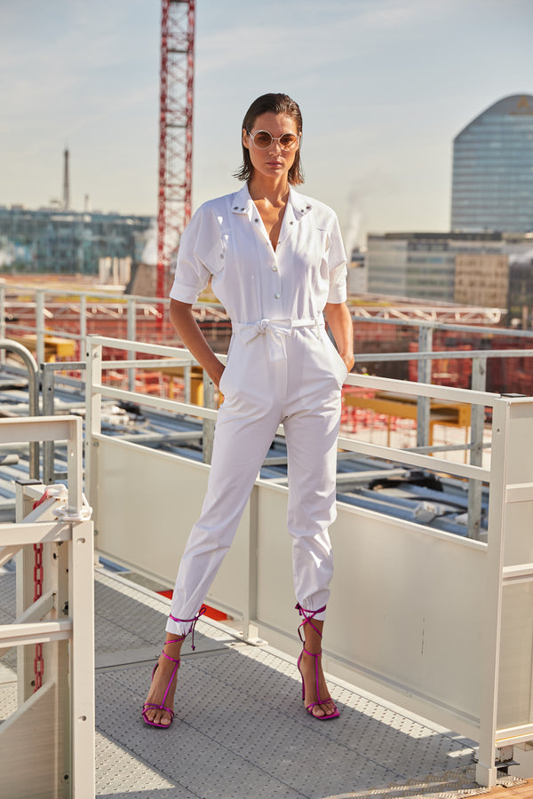 Gabardine Jumpsuit Prude White