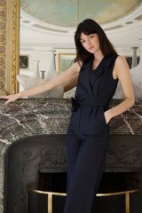 Sleeveless Virgin Wool Jumpsuit Narjisse Navy