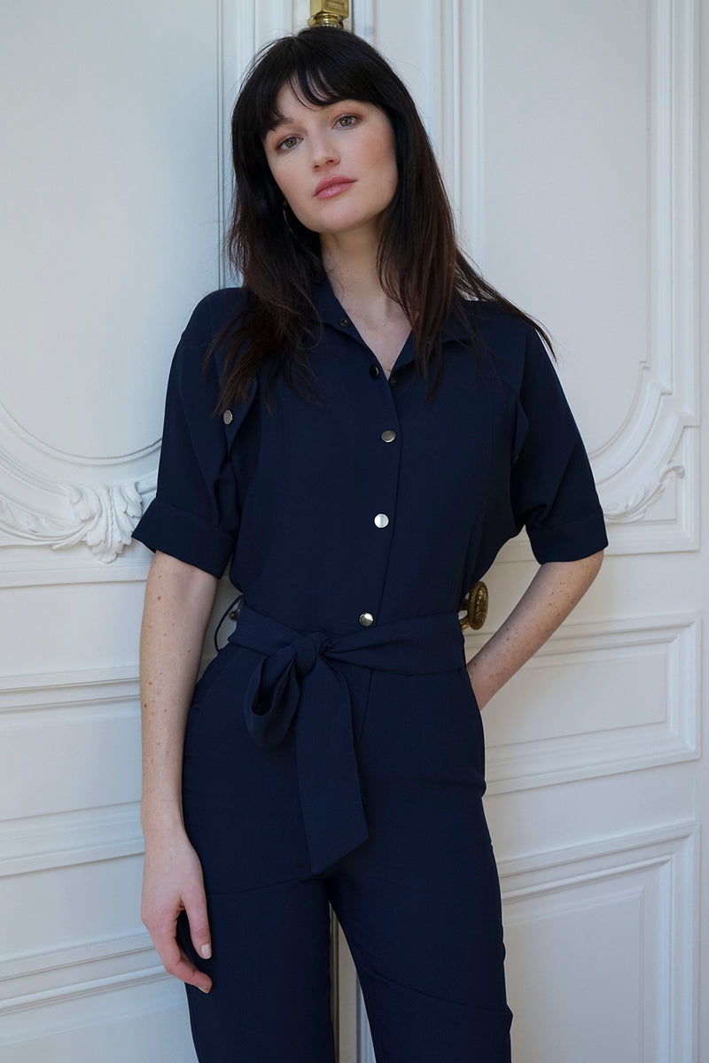 CREPE JUMPSUIT PRUDE NAVY