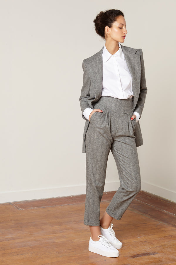 WOOL CHEVRON PANTS MICKAEL GREY