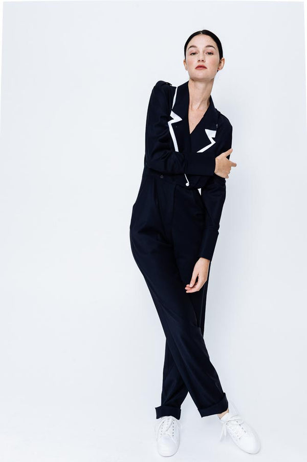 Virgin Wool Jumpsuit Katia Navy/White