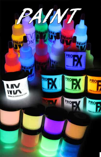 Glow in the Dark | Fabric Paints | UV Black Light | Glomania | Photochromic Acrylic Paints | Nail Art | Pigments