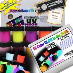 Glow in The Dark Day Visible UV Neon Black Light Reactive Paint 10 col - Glomania