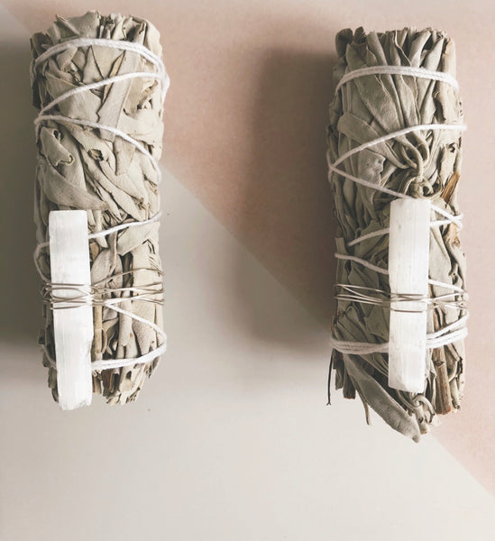 Sage and Selenite Smudge Stick