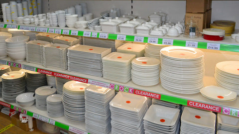 Tableware on shelves