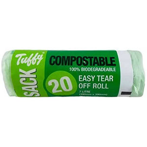 Tuffy Caddy Sack 7 Litre Compostable Food Waste Bags (Pack of 20)