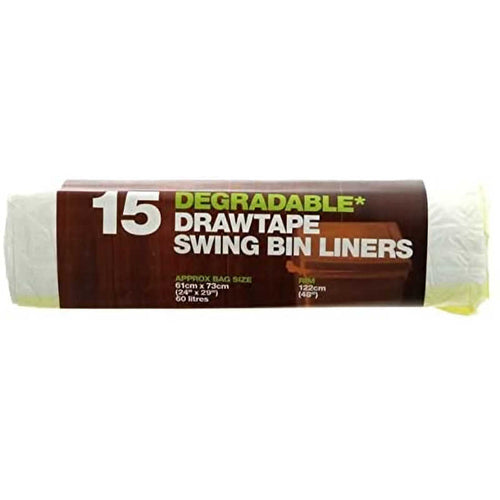 Essential Housewares 60 Litre Degradable Drawtape Swing Bin Liners (Pack of 15) - The Crock Ltd