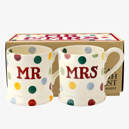Emma Bridgewater Polka Dot 'Mr and Mrs' Set of 2 1/2 Pint Mugs