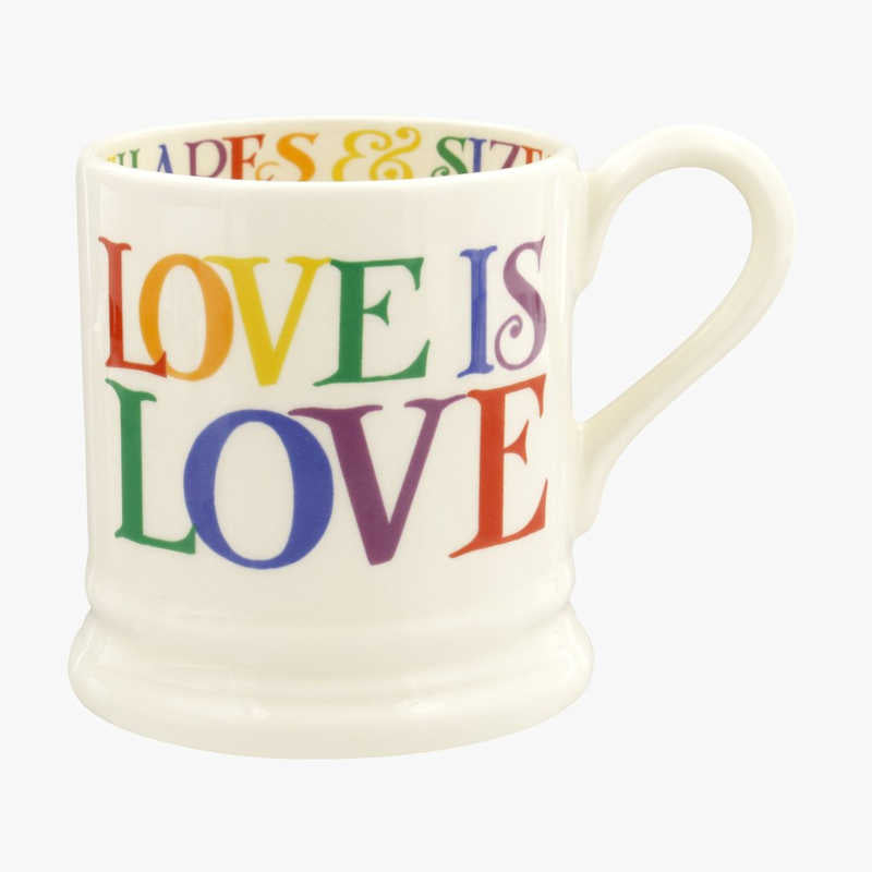 Emma Bridgewater Rainbow Toast Love is Love 1/2 Pint Mug