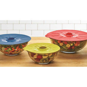 Colourworks Silicone Suction Food Covers / Pan Lids on top of bowls